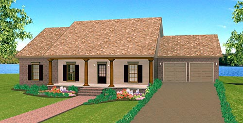 Country, One-Story Plan with 1629 Sq. Ft., 3 Bedrooms, 2 Bathrooms, 2 Car Garage Elevation
