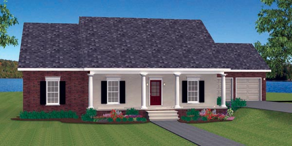 Country, One-Story Plan with 1629 Sq. Ft., 3 Bedrooms, 2 Bathrooms, 2 Car Garage Picture 3
