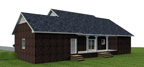 Country, One-Story Plan with 1629 Sq. Ft., 3 Bedrooms, 2 Bathrooms, 2 Car Garage Rear Elevation