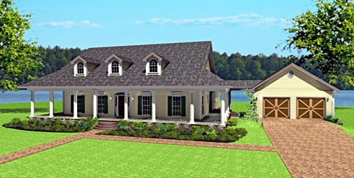 Country One-Story Elevation of Plan 64574