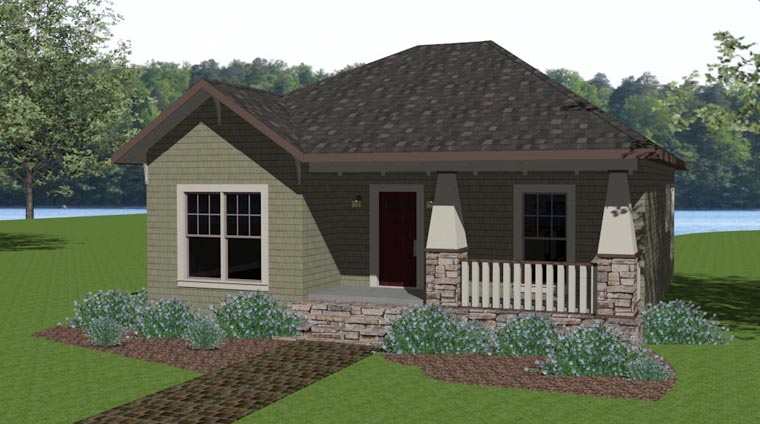 Craftsman House Plan 64576 with 2 Beds, 2 Baths Elevation
