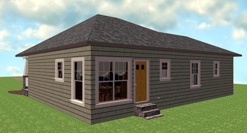 Craftsman, Narrow Lot, One-Story House Plan 64577 with 3 Beds, 2 Baths Rear Elevation