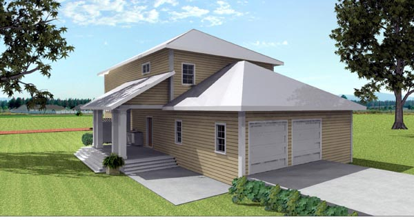 Traditional House Plan 64580 with 4 Beds, 3 Baths, 2 Car Garage Rear Elevation