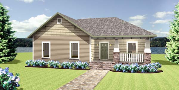 Cottage, Country, Craftsman House Plan 64581 with 4 Beds, 2 Baths, 2 Car Garage Elevation