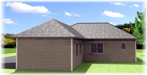 Craftsman , Country , Cottage House Plan 64582 with 4 Beds, 2 Baths, 2 Car Garage Rear Elevation