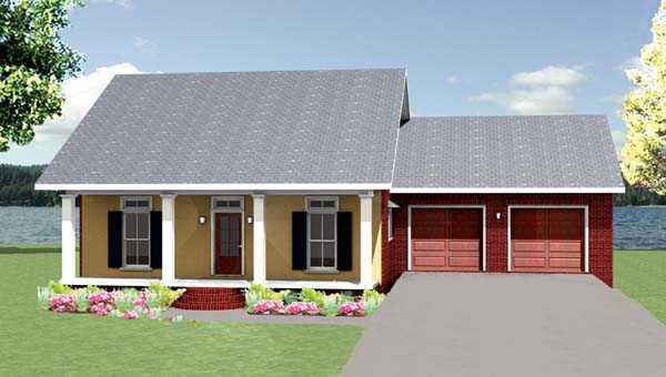 Cottage , Country , Southern House Plan 64583 with 3 Beds, 2 Baths, 2 Car Garage Elevation