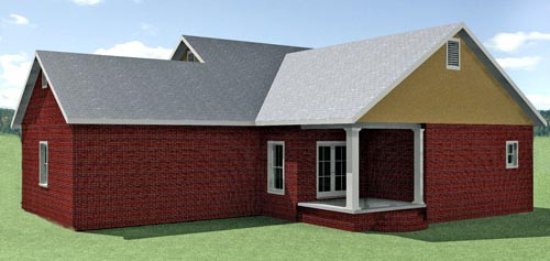Cottage , Country , Southern House Plan 64583 with 3 Beds, 2 Baths, 2 Car Garage Rear Elevation