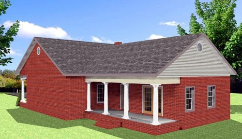 Cottage Country Southern House Plan 64584 Rear Elevation