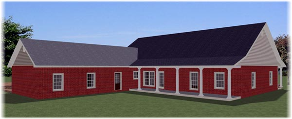 Country Southern Traditional House Plan 64585 Rear Elevation