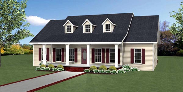Country , Southern , Traditional House Plan 64587 with 3 Beds, 3 Baths Elevation