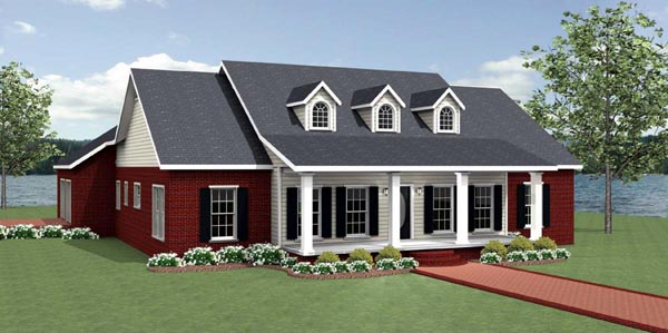Country House Plan 64588 with 3 Beds, 3 Baths, 2 Car Garage Elevation