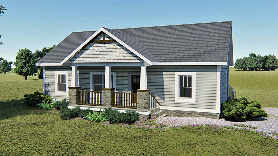Bungalow , Country , Craftsman , Elevation of Plan 64589
