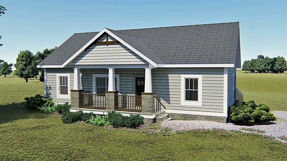 Bungalow, Country, Craftsman House Plan 64589 with 3 Beds, 2 Baths Front Elevation