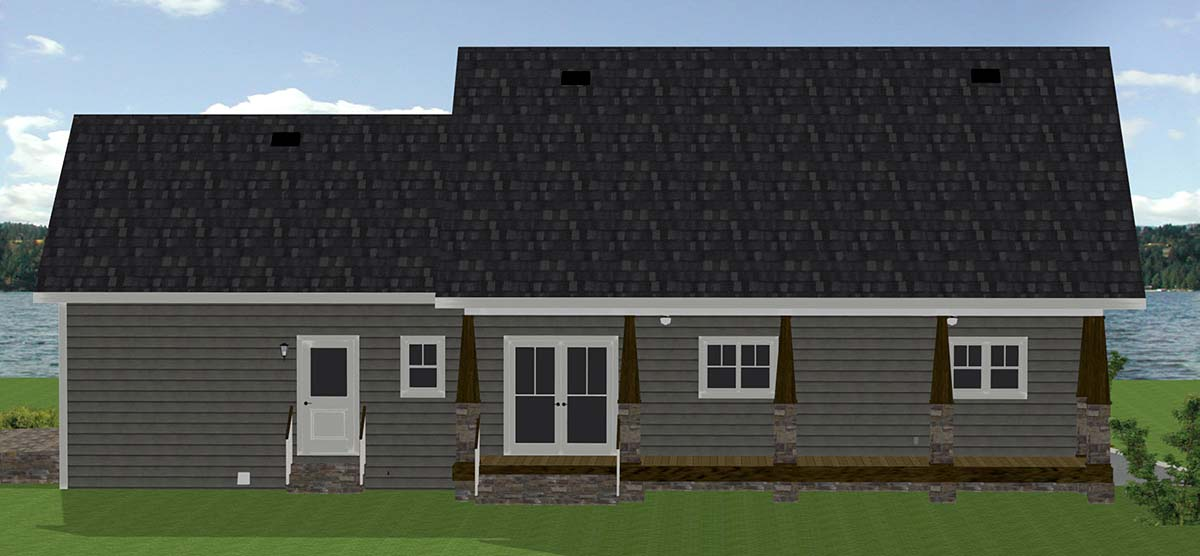 Traditional , Southern , Craftsman , Country , Cottage House Plan 64591 with 2 Beds, 3 Baths, 2 Car Garage Rear Elevation