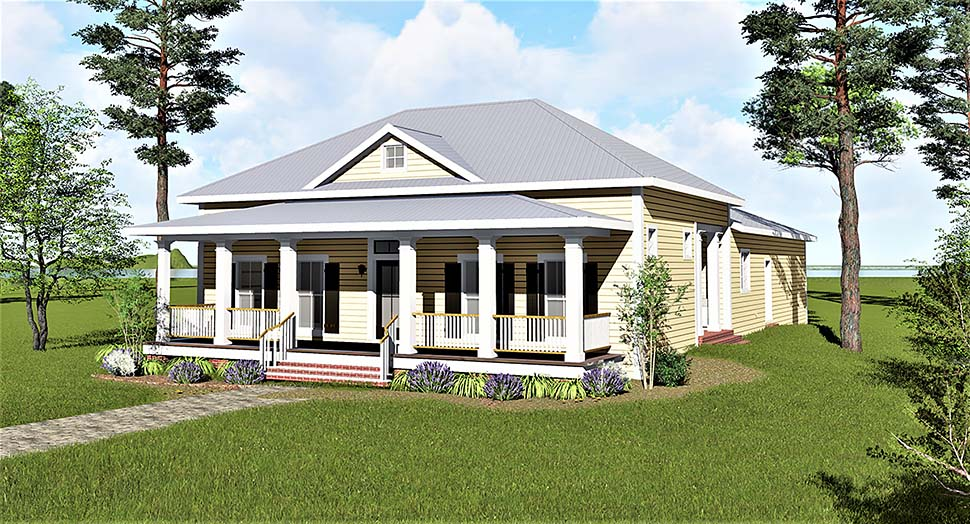 Colonial, Country, Southern House Plan 64592 with 3 Beds, 2 Baths, 2 Car Garage Elevation