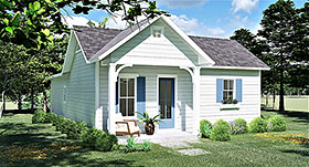 Cottage , Country , Traditional House Plan 64596 with 3 Beds, 2 Baths Elevation