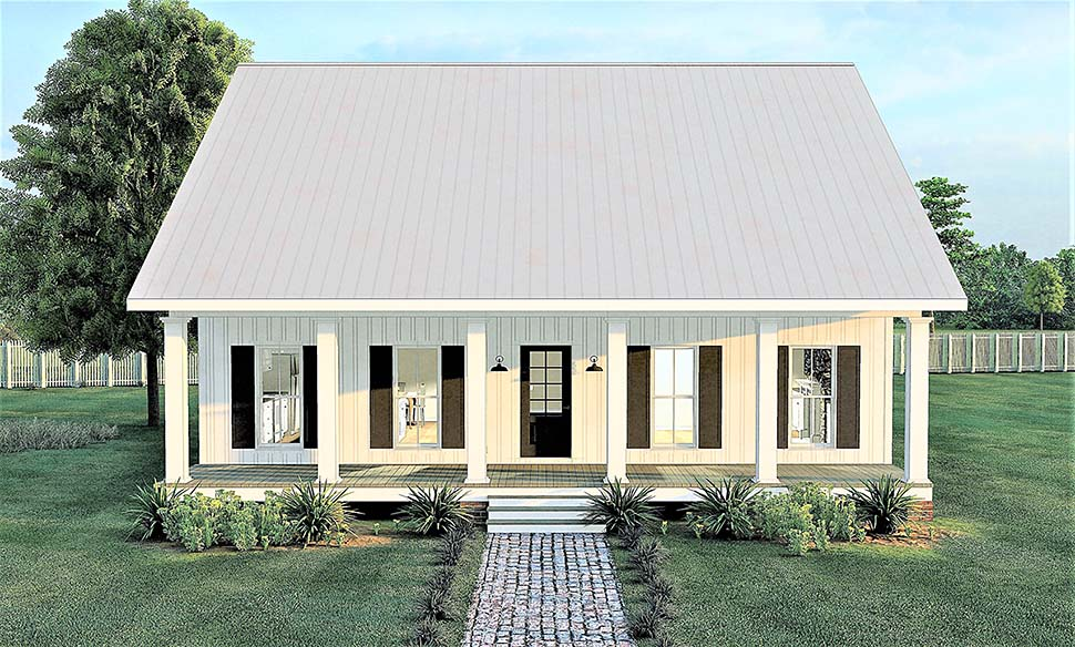 Farmhouse , Modern House Plan 64598 with 2 Beds, 1 Baths Elevation