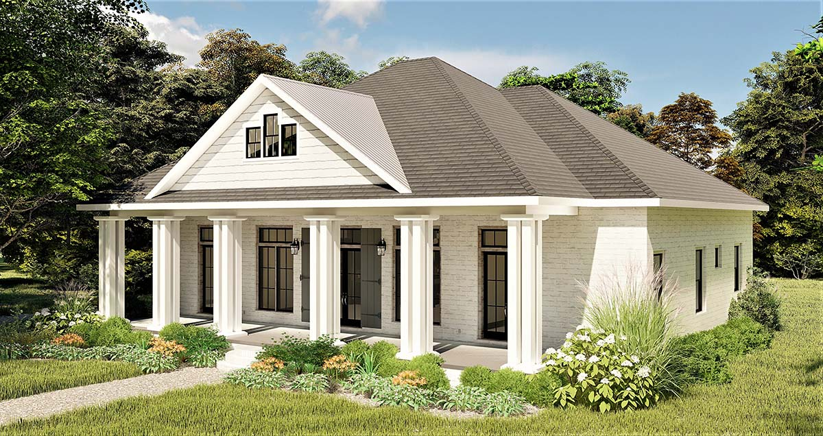 Colonial, Country, Southern House Plan 64599 with 3 Beds, 2 Baths, 2 Car Garage Picture 1