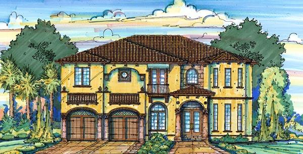 Florida Mediterranean House Plan 64600 Elevation