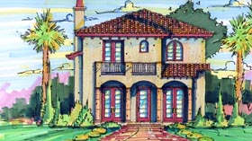 House Plan 64617 | Florida Mediterranean Style Plan with 2785 Sq Ft, 4 Bedrooms, 4 Bathrooms Elevation