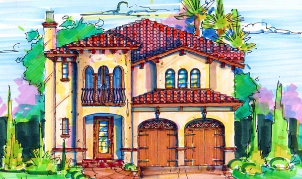 House Plan 64618 | Florida Mediterranean Style Plan with 2796 Sq Ft, 3 Bedrooms, 4 Bathrooms, 2 Car Garage Elevation