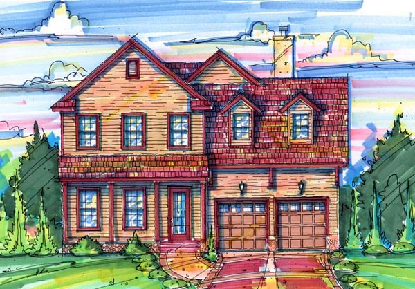 House Plan 64621 | Style Plan with 2863 Sq Ft, 4 Bedrooms, 3 Bathrooms, 2 Car Garage Elevation