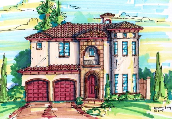 Florida, Mediterranean House Plan 64624 with 4 Beds, 4 Baths, 2 Car Garage Elevation
