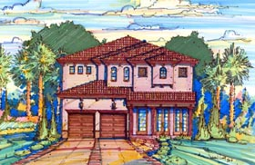 Florida , Mediterranean House Plan 64626 with 3 Beds, 3 Baths, 2 Car Garage Elevation