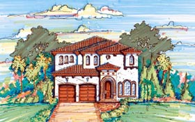 House Plan 64627 | Florida Mediterranean Style Plan with 2994 Sq Ft, 3 Bedrooms, 3 Bathrooms, 2 Car Garage Elevation