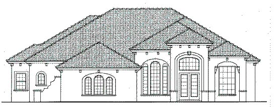 Mediterranean One-Story Elevation of Plan 64634