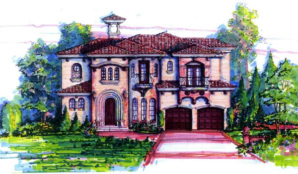 Florida, Mediterranean House Plan 64636 with 4 Beds, 4 Baths, 2 Car Garage Elevation