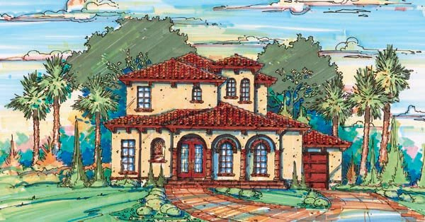 Florida, Mediterranean House Plan 64637 with 4 Beds, 5 Baths, 2 Car Garage Elevation