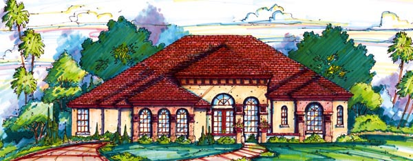 Florida Mediterranean One-Story Elevation of Plan 64641