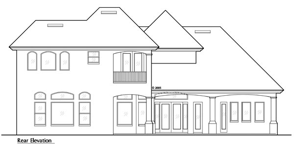 European House Plan 64648 Rear Elevation