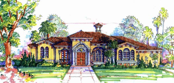 Florida , Mediterranean House Plan 64658 with 4 Beds, 4 Baths, 3 Car Garage Elevation