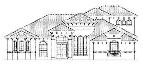 Florida Mediterranean One-Story Elevation of Plan 64661