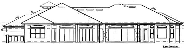 House Plan 64664 | Florida Mediterranean Style Plan with 3873 Sq Ft, 3 Bedrooms, 3 Bathrooms, 3 Car Garage Rear Elevation