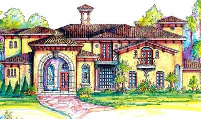 Italian House Plan 64666 with 4 Beds, 5 Baths, 3 Car Garage Front Elevation