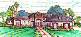 Florida , Mediterranean House Plan 64669 with 4 Beds, 4 Baths, 3 Car Garage Elevation