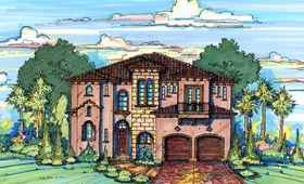 House Plan 64678 | Mediterranean Style Plan with 4062 Sq Ft, 4 Bedrooms, 5 Bathrooms, 2 Car Garage Elevation