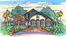 Traditional House Plan 64686 with 5 Beds, 6 Baths, 3 Car Garage Elevation