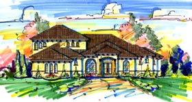 House Plan 64688 | Florida Mediterranean Style Plan with 4278 Sq Ft, 4 Bedrooms, 5 Bathrooms, 3 Car Garage Elevation