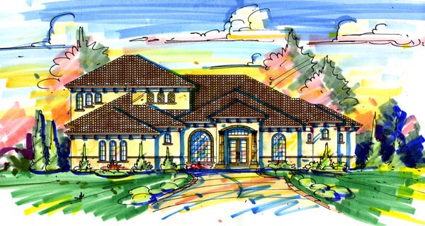 Florida Mediterranean House Plan 64688 Elevation