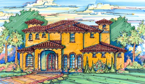 House Plan 64700 | Florida Mediterranean Style Plan with 4480 Sq Ft, 4 Bedrooms, 6 Bathrooms, 3 Car Garage Elevation