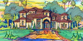 House Plan 64703 | Florida Mediterranean Style Plan with 4514 Sq Ft, 4 Bedrooms, 5 Bathrooms, 3 Car Garage Elevation