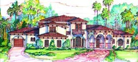 Florida , Mediterranean House Plan 64718 with 5 Beds, 5 Baths, 4 Car Garage Elevation