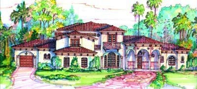 Florida, Mediterranean House Plan 64718 with 5 Beds, 5 Baths, 4 Car Garage Elevation