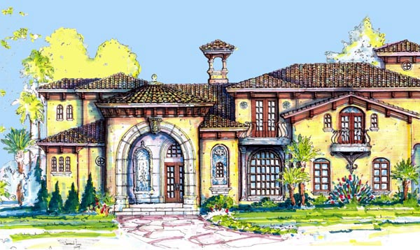 Florida, Mediterranean House Plan 64720 with 4 Beds, 7 Baths, 3 Car Garage Elevation