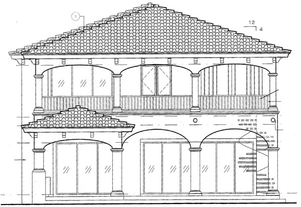 European House Plan 64723 Rear Elevation