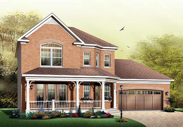 Traditional House Plan 64801 with 3 Beds, 3 Baths, 2 Car Garage Elevation